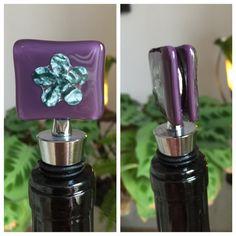 Purple Sapphire Wine Bottle Stopper by LilacBeeDesigns on Etsy Purple Sapphire, Wine Bottle Stoppers, Fused Glass, Wine Glass, Perfume Bottles, Butterfly, Yellow, Etsy, Wine Bottle Corks