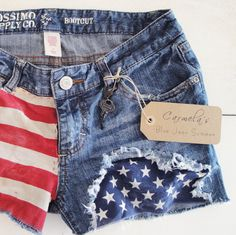 https://www.etsy.com/treasury/MTQwNTAzNDN8MjcyNDY5NjQyOA/americas-birthdayduh    Recycled Distressed Mossimo Denim Jean Shorts by carmellasboutique, $22.00