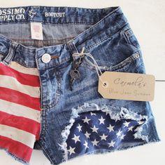 https://www.etsy.com/treasury/MTQwNTAzNDN8MjcyNDY5NjQyOA/americas-birthdayduh    Recycled Distressed Mossimo Denim Jean Shorts by carmellasboutique, $22.00