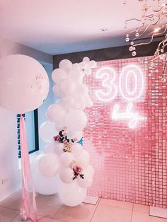 Birthday Goals, 30th Birthday Parties, Pink Birthday, Birthday Party Themes, 21st Party Decorations, Birthday Balloon Decorations, Birthday Balloons, Pink Balloons, 21st Bday Ideas
