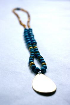 Faux Turquoise Glass Beaded Necklace with Tear Drop Gold by MFen, $16.00