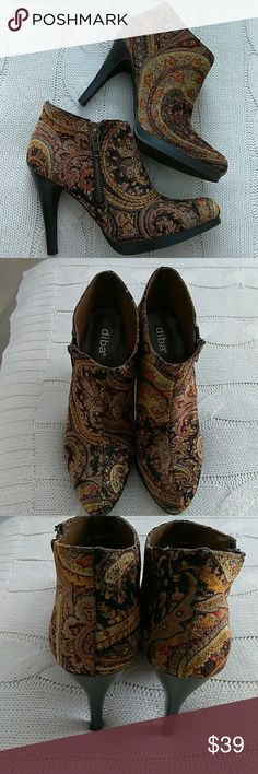 Beautiful Tapestry Booties Beautiful Tapestry Booties with a hint of gold sparkle. Side zippers. Diba Shoes Ankle Boots & Booties