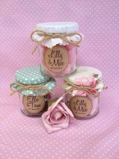 These sweet jars with fabric covers are cute too :-) Wedding Favour Jars, Rustic Wedding Favors, Wedding Gifts, Sweet Jars, Wedding Giveaways, Cheap Favors, First Tooth, Jam Jar, Party Favors