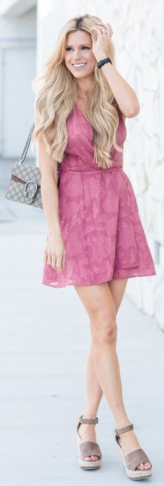 Pink Dress / Grey Suede Platform / Grey Shoulder BagAdrianna Papell Embellished Blouson Gown (Regular & Petite)  Trending Summer Spring Fashion Outfit to Try This 2017 Great for Wedding,casual,Flowy,Black,Maxi,Idea,Party,Cocktail,Hippe,Fashion,Elegant,Chic,Bohemian,Hippie,Gypsy,Floral