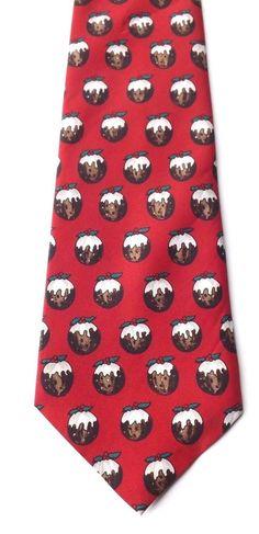 Burton CHRISTMAS Novelty Neck Tie Red with Christmas Pudding Design FREE P&P #Burton #Tie