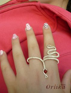 Wire wrapped Two Finger Snake Ring by Orlika on Etsy