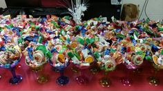 Candy in a Margarita Cup Mexican Candy Table, Mexican Party, Party Themes, Party Ideas, Margarita, Punch Bowls, Retirement, Wedding, Mexican