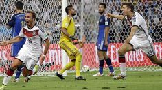 Germany's Mario Goetze celebrates after scoring the winning goal.