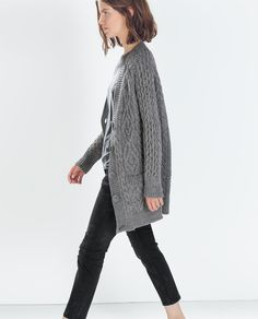 Image 3 of LONG ARAN CARDIGAN from Zara