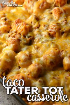 Taco Tater Tot Casserole (Oven Recipe) - Recipes That Crock! - This Taco Tater Tot Casserole recipe for you oven is incredibly simple and absolutely delicious! Tater Tot Recipes, Easy Casserole Recipes, Oven Recipes, Meat Recipes, Cooking Recipes, Hamburger Recipes, Asian Recipes, Chicken Recipes, Recipies
