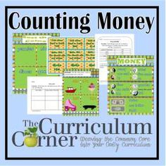 Anchor chart, task cards, practice pages and other center activities for teaching money in the classroom free from The Curriculum Corner Money Activities, Math Activities For Kids, Fun Math, Math Resources, Math Math, Classroom Resources, Educational Activities, Kids Learning, Classroom Ideas