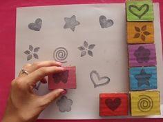 Sellos caseros con letras y otras formas | Manualidades para niños - YouTube