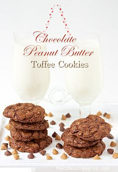 Chocolate Peanut Butter Toffee Cookies