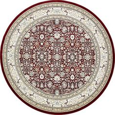 Charlton Home Courtright Burgundy/Ivory Area Rug Rug Size: Round 10'