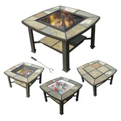 leisurelife�  Rimini 4 in 1, Slate, Coffee Table, Cooler, Fire Pit, Grill