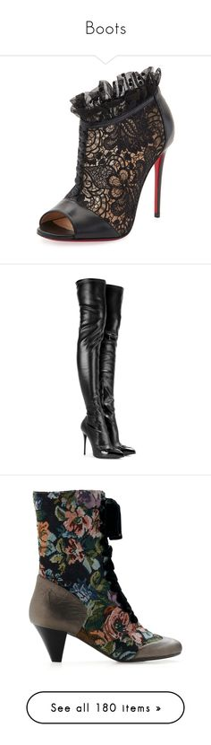 """Boots"" by lustydame ❤ liked on Polyvore featuring shoes, boots, ankle booties, booties, black bootie, black lace-up boots, peep toe ankle boots, black boots, black peep toe booties and heels"