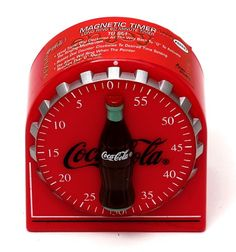 Coca Cola Coke Magnet Kitchen Timer - You'll never lose this 60 minute timer since the magnetic back will hold to any metal surface! Coca Cola Decor, Coca Cola Ad, Always Coca Cola, World Of Coca Cola, Coca Cola Bottles, Radios, Coca Cola Kitchen, Cocoa Cola, Egg Timer