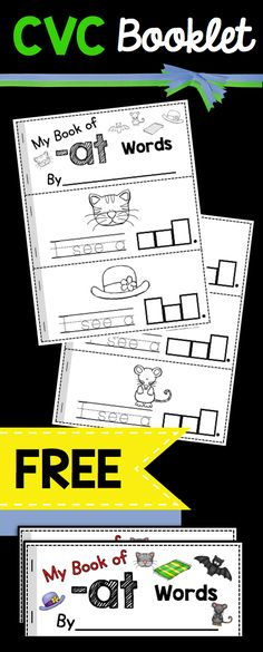 CVC mini books - cute little emergent readers perfect for a kindergarten literacy center or reinforcement activity - prek or preschool worksheets