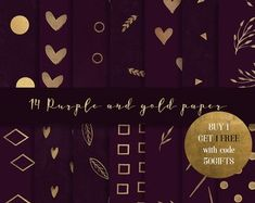 Purple and Gold digital paper Gold paper, purple digital paper, art deco paper, gold clipart gold geometric pattern purple paper