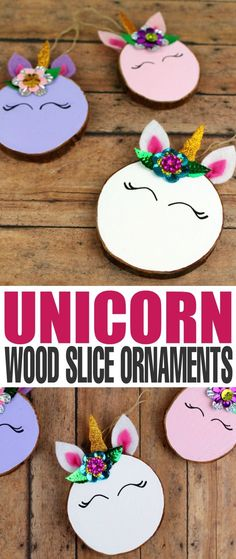 These Wood Slice Unicorn Ornaments are an adorable DIY project for you and the kids to tackle over the holiday season. They are an easy to make craft that also make for a great gift and look great on a Christmas tree. (on holiday seasons)