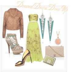 apple green chiffon gown- taupe chanel bag- leather jacket