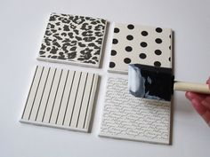 How to make tile coasters.    A foster dog chewed up all our coasters so I definitely need to try this!