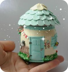 House with polymer clay and a jar