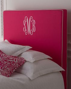 """Emporia"" Headboards  $1,199.00-1,599.00  Pretty pink headboard outlined in white piping is available with your initials in white script embroidery. Made in the USA. #monogramed"