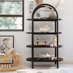 Dolly Black Tall Bookcase | Crate and Barrel