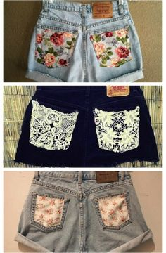 Add some pretty fabric to your old shorts DIY Diy Summer Clothes, Summer Outfits, Summer Shorts, Summer Clothing, Diy Your Clothes, Summer Dresses, Winter Clothes, Shorts Diy, Diy Shorts Pockets