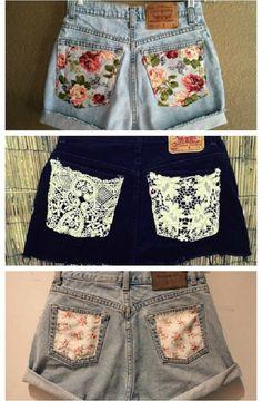 Как украсить старые джинсы своими руками - вставки из ткани