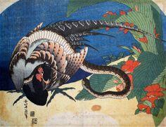 葛飾北斎 雉に蛇(団扇絵)