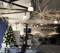 Decorated Christmas tree and Christmas decorations for Mercedes Benz showroom