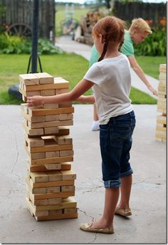Outdoor Games For Kids Group Giant Jenga 54 Ideas Outdoor Games, Outdoor Fun, Outdoor Jenga, Outdoor Ideas, Fun Games, Games For Kids, Activities For Kids, Giant Jenga, Camping