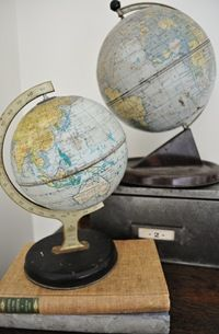 Obsessed with vintage globes...and 'The Painted Hive' {House envy- this chick is a transformation genius}