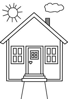 House Coloring Page cut out shapes for windowsdoor etc for
