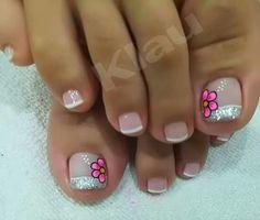 Cute Simple Nails, Cute Toe Nails, Toe Nail Art, Pretty Nails, Cute Pedicure Designs, Toe Nail Designs, French Pedicure, Manicure And Pedicure, Summer Toe Nails