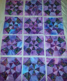 12 Kaleidoscope Finished Quilt Top Blocks - Multi Tone Batik Blend Fabrics Scrap Quilt Patterns, Pattern Blocks, Lap Quilts, Quilt Blocks, American Patchwork And Quilting, Quilting Projects, Quilting Ideas, Kaleidoscope Quilt, Foundation Piecing