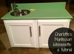 DIY beautiful countertop and sink with running water, but no drain for a young child
