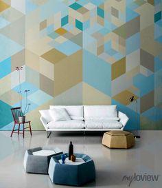 Geometric Wallpaper From myloview #geometry #sofa #wallpaper