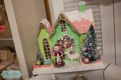 pink and green glitter house