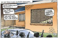 """""""I was framed, Abbott!"""" Mark Knight cartoon 24 May 2012"""