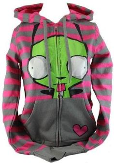 Wish | Invader Zim Gir Zip Up Hoodie- Gir Heart Graphic on Pink