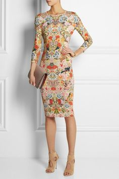 Alexander McQueen- Floral-print stretch-jersey dress. Looks comfortable and funky.