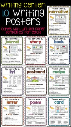 10 Writing Posters to use in Writer's Workshop writing centers! Also includes writing paper templates for each type of writing!