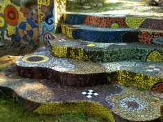 Mosaic Stairs at Luna Parc New Jersey Mosaic Stairs, Mosaic Walkway, Tile Stairs, Mosaic Wall, Mosaic Tiles, Stone Mosaic, Mosaic Glass, Stained Glass, Glass Art