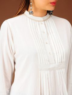 Buy Ivory Pleated Yoke Flared Cotton Tunic Apparel Tunics & Kurtas Online at Jaypore.com