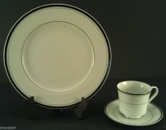 WALLACE HERITAGE NEWPORT CHINA PLACE SETTING PLATE CUP AND SAUCER WHITE PLATNUM #WALLACEHERITAGE