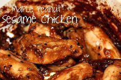 Maple Peanut Sesame Chicken  blog.katescarlata.com