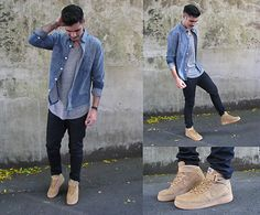 Nike Air Force 1 Flax, Ksubi Waxed Denim, John Elliot + Co. Curve Tee, A.P.C. Kanye Denim Shirt